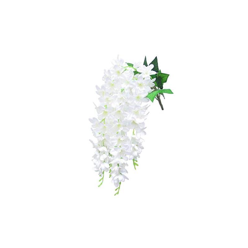 "silk flower arrangements dalamoda cream white 2pcs plumeria silk floral spray orchid flower,27"" in length ,artificial silk flower for diy wedding prom,flower bouquet,wisteria hanging garland wall restaurant decoration"