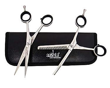Juego de tijeras para cortar y pelar el pelo de peluquería con funda de 5,5 pulgadas