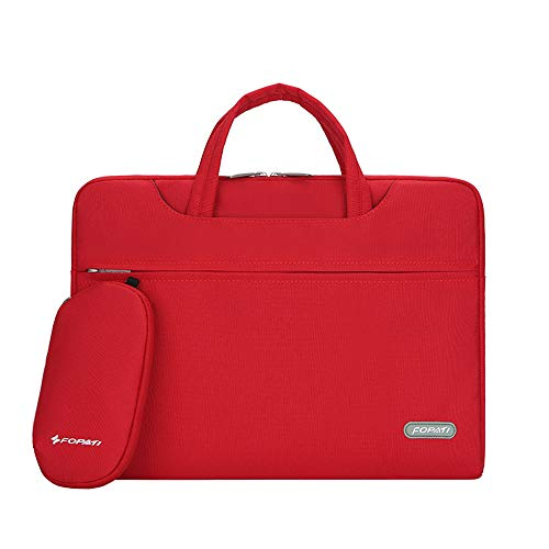 CROMI Laptop Case, Slim Briefcase Commuter Bag Business Sleeve Carrying Handle Bag Nylon Notebook Shoulder Messenger Bag Red Size: 14 inch