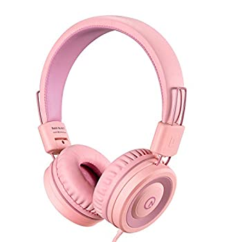 Kids Headphones-noot products K11 Foldable Stereo Tangle-Free 5ft Long Cord 3.5mm Jack Plug in Wired On-Ear Headset for iPad/Amazon Kindle,Fire/Girls/School/Laptop/Travel/Plane/Tablet-Soft Pink