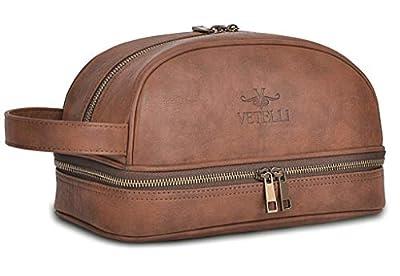 Vetelli Leather Toiletry Bag / Dopp Kit for Men