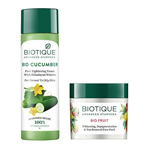 Biotique Bio Cucumber Pore Tightening Toner, 120ml and Biotique Bio Fruit Whitening and Depigmentation and Tan Removal Face Pack, 75g (Pack of 2)