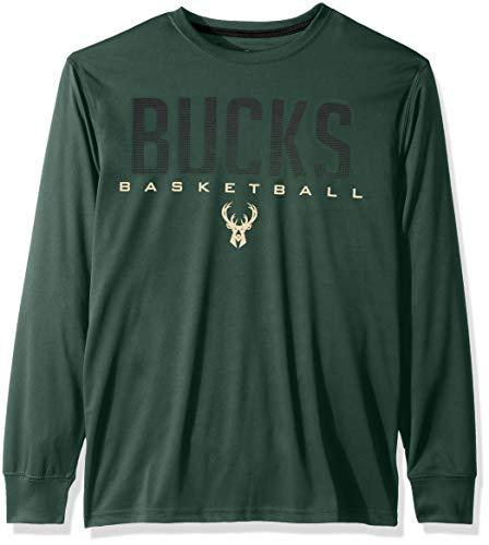 Ultra Game NBA Milwaukee Bucks Mens Active Long Sleeve Tee Shirt, Team Color, Small