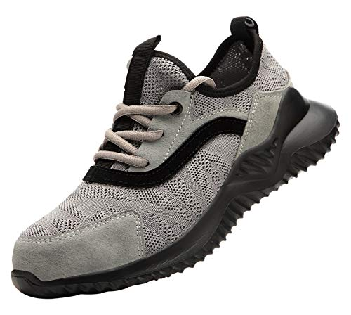Santimon Herren Sicherheitsschuhe Arbeitsschuhe Industrial Atmungsaktiv Komfortabel Anti-Perforations Stahlkappen Schuhe Grau 42 EU