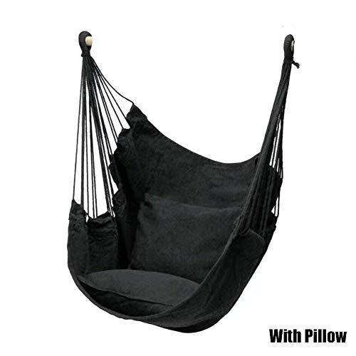 Mingtian hamaca silla columpio, asiento de viaje camping colgante para jardín al aire libre adultos niños, negro, With Pillow