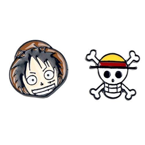 Cotrdocigh 1Pair One Piece Luffy Earring, Animación japonesa Pendientes de metal Personalidad Unisex Colgante de joyería de moda
