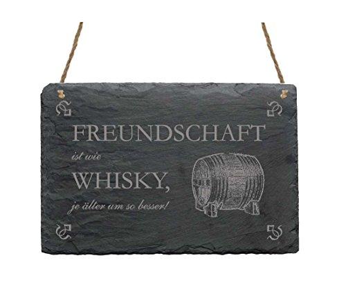 Dekotafel Schiefer FREUNDSCHAFT IST WIE WHISKY Schiefertafel Whiskyfass 22 x 16 cm Wandschild Schieferplatte Deko Schild