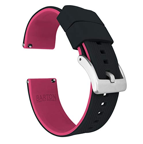 20mm Black/Pink - Barton Elite Silicone Watch Bands - Quick Release - Choose Strap Color & Width