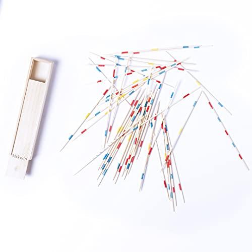 Clásico Juego de Mesa Habilidad Mikado con 41 palitos de Madera (tamaño pequeño – Viaje). Presentado en Caja de Madera con tapadera Deslizante. Sticks 17.5 cm Estrategia Palillos Palitos Chinos