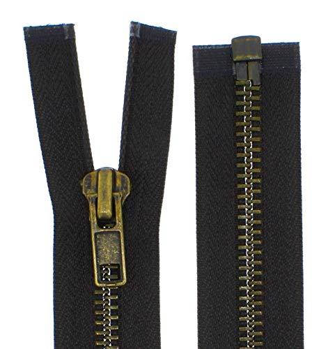 FIM Reißverschluss Metall Grob Nr. 8 Brüniert Teilbar für Lederjacken usw. Farbe: 9 - Dunkelbraun(305), 60cm lang