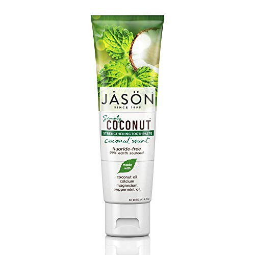 Jason Simply Coconut Strengthening Fluoride-Free Toothpaste, Coconut Mint, 4.2 Oz