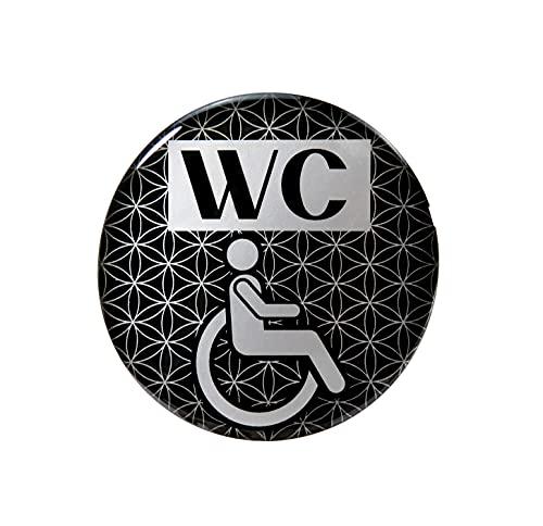 BIKE-label 900110VA Silber 3D Aufkleber Türschild WC Rollstuhl Hinweisschild 70 mm