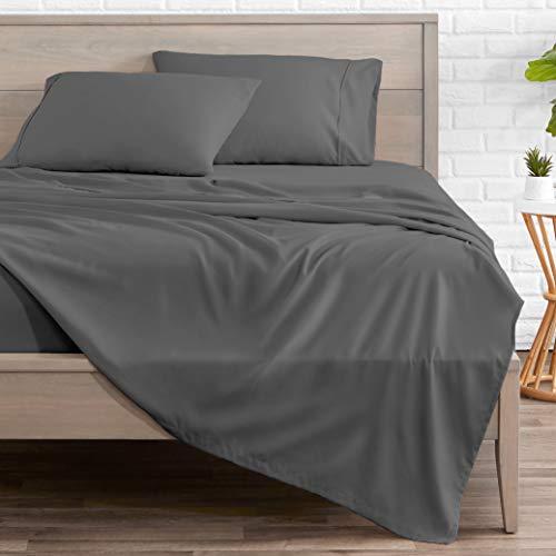 Bare Home Split King Sheet Set  1800 UltraSoft Microfiber Bed Sheets  Double Brushed Breathable Bedding  Hypoallergenic – Wrinkle Resistant  Deep Pocket Split King Grey