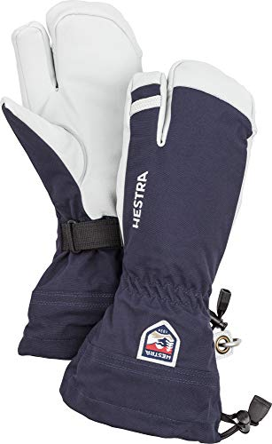 Hestra Army Leather Heli Ski Glove - Classic 3-Finger Snow Glove for Skiing, Snowboarding and Mountaineering - Navy - 8