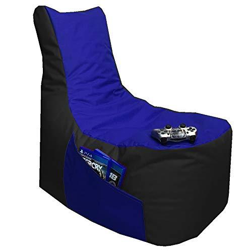 Sitzsack 3er Set Big Gamer Sessel mit EPS Sytropor Füllung - Rückenkissen - Hocker - In & Outdoor Sitzsäcke Sessel Kissen Sofa Sitzkissen Bodenkissen (Big Gamer Sitzsack 2-farbig, Schwarz - Blau)