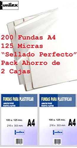 Fundas de Plastificar DIN A4 125 Micras Pack Ahorro de 200 Fundas Sellado Perfecto Gramaje Recomendado para Colegios y Oficinas acabado SemiBrillo muy Baratas