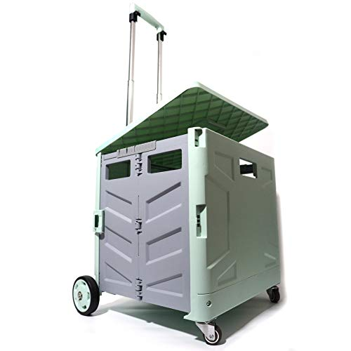 Folding Utility Shopping Cart with 4 Wheels Rolling Crate and Lid,Support 140Lbs and 55L Capacity, Durable Heavy Duty Plastic Telescoping Handle for Travel Shopping Moving Luggage Office