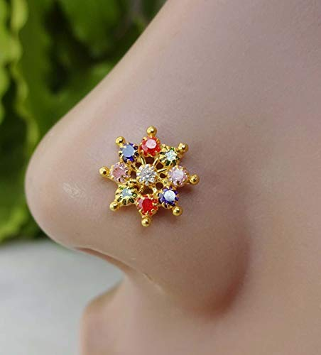 5 MM 18k Gold Nose Pin india white stone simple design Best price Nose Ring Piercing Stud