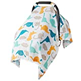 Muslin Canopy Cover for Baby Car Seat Infant Carseat Newborn Swaddle Blanket Babies Shower Gifts for Girls and Boys, Lightweight Breathable Neutral, Large 47.2 x 35.4 inch - Dinosaur