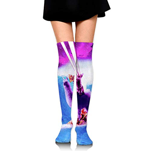 Generic Laser Space Cat Riding Surfing Llama 3D Print Athletic Sport Long Stockings Over Knee High Socks 60CM