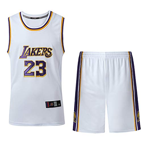 WQJIE Herren Basketball Anzüge, James 23 Basketball Jersey, Lakers Basketball Kleidung, Mesh Polyester Basketball Jersey Shirts-White-XXL