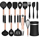 Umite Chef 14 pcs Silicone Cooking Utensils Kitchen Utensil Set - 446°F Heat Resistant, Kitchen Gadgets Tools Set with Copper Stainess Steel Handles for Non-stick Cookware(Black, BPA Free)