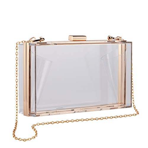 CuteClear Clear Box Clutch Crossbody Bag Purse for Women, Transparent Handbag for Sporting Event, College Game Day, Concert, PGA, NCAA & NFL Stadium Approved (Gold)