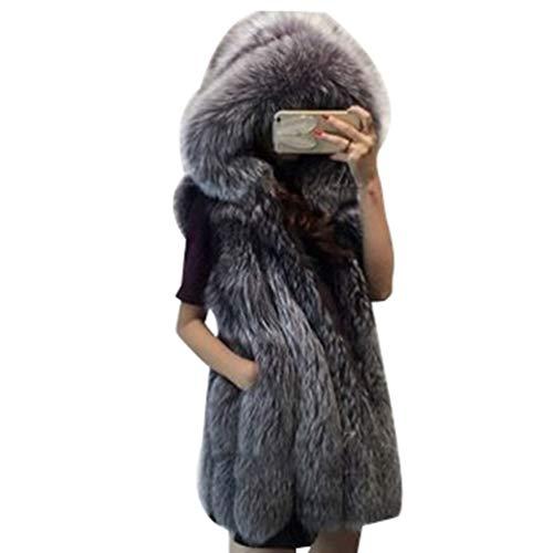Mujer Chaleco Piel Sintética con 2 Bolsillos De Costuras Laterales Ropa De Abrigo Gruesa Abrigos con Capucha Zorro Plata S