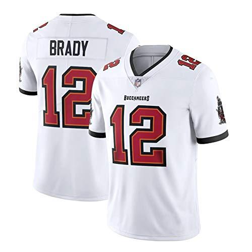 Herren NFL Pirates 12# Brady Buccaneers Trikot, 100% Polyester Bestickte Version Atmungsaktiv Und Schweißableitend, Ehre Bis Zum Ende,Weiß,M