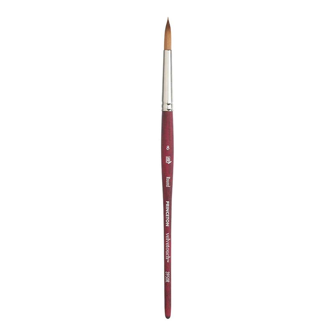 Princeton Velvetouch Artiste, Mixed-Media Brush for Acrylic, Watercolor & Oil, Series 3950 Round Luxury Synthetic, Size 8