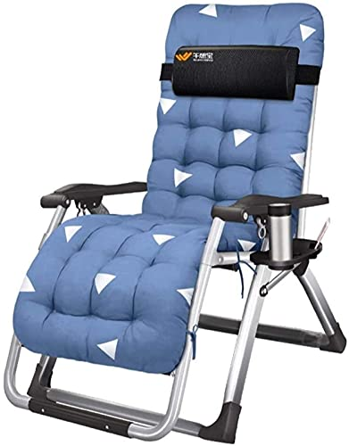 Patio Lounge Chairs Recliner Garden Loungers and Reclinersed Chair Office Folding Chairs with Cushion Lunchreak In Textoline with Free Side Table/Cup Holder (Color : with Cushion)