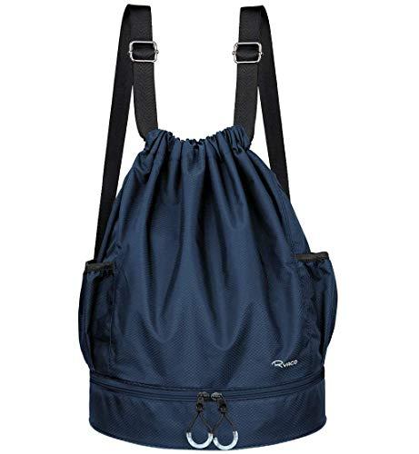 Ryaco Mochila de Cuerda Unisex, Saco de Gimnasia para Deporte Gimnasio Yoga Nadar (Azul)