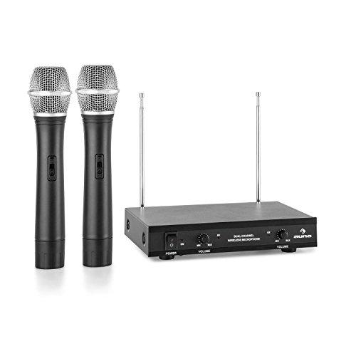 auna VHF-2-H - 2-Kanal-VHF-Funkmikrofon Set, Funk-System, 2 x Handmikrofon, bis zu 100 m Reichweite, 174-270 MHz Frequenzbereich, Metallgehäuse, energieeffiziente Bauweise, schwarz
