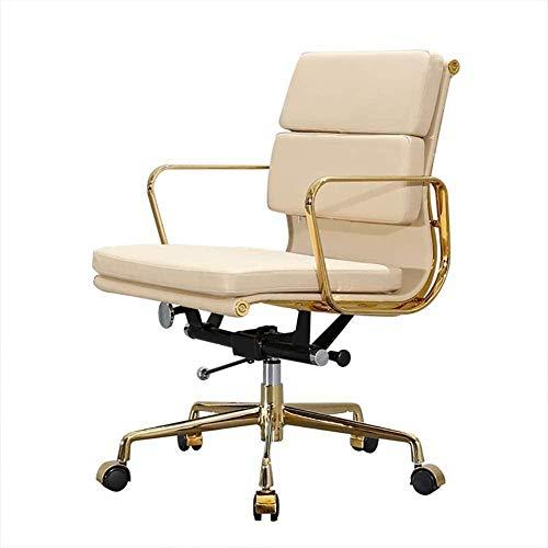 Las sillas de Escritorio, Silla de la Oficina del Ordenador Silla Acolchada con Respaldo Medio del Escritorio de Oficina giratoria de Oficina ejecutiva del reposabrazos Silla Sillón (Color : Beige)