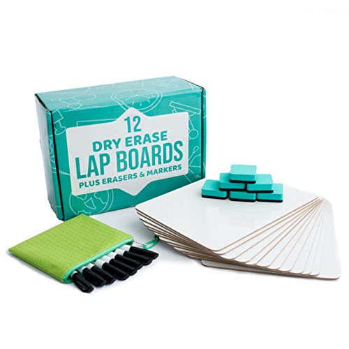 Dry Erase Lapboards   12pc Classroom Pack Mini Lapboards + 12 Bonus Whiteboard Markers + Felt Erasers - 9' x12' Double Sided Small White Boards for Students, Teacher Supplies