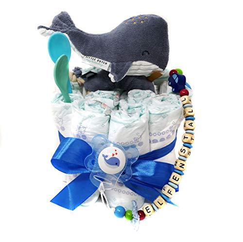 Elfenstall Windeltorte/Pamperstorte mit Schnullerkette/Schnuller und vielen Extras als tolles Geschenk zur Geburt oder Taufe auf Wunsch mit Namen des Babys (Wal blau)