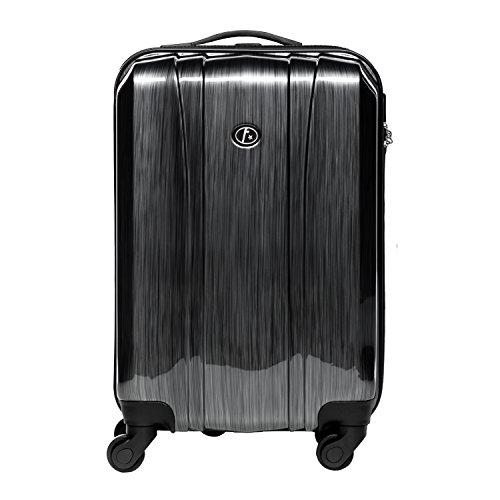 FERGÉ Handgepäck-Koffer Hartschale Dijon Bordgepäck Rollkoffer 55 cm Reisekoffer Kabinen-Trolley 4 Rollen Silber