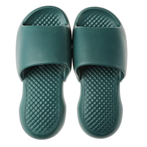 Soarhover Bathroom Slippers Non-Slip Shower Sandal for Mens/Womens, Indoor Outdoor SandalsSlippers (Dark Green, 8-9)