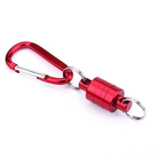 VGEBY1 Lanzamiento de Red magnética, Soporte de Clip de imán de aleación de Aluminio portátil para Red de Aterrizaje de Pesca con Mosca(Rojo)