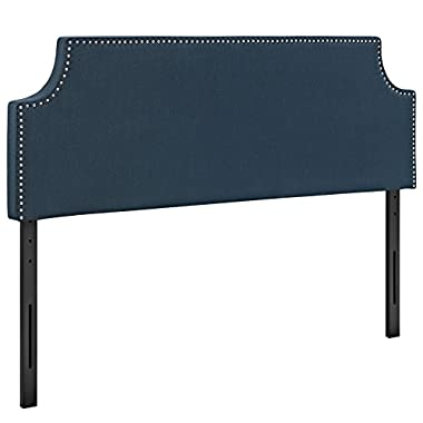 Modway Laura Upholstered Fabric Headboard King Size With Cut-Out Edges and Nailhead Trim In Azure