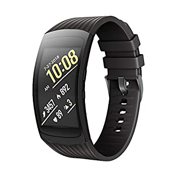 ANCOOL Compatible Samsung Gear Fit2 Pro Band/Gear Fit 2 Bands Replacement Silicone Smartwatch Bands Compatible Samsung Gear Fit2 Pro  Large Black