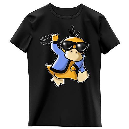 Okiwoki T-Shirt Enfant Fille Noir Parodie Pokémon - Psykokwak réalisant Le Gangnam Style - Gangduck Style by Psyko : (T-Shirt Enfant de qualité Premium de Taille 7-8 Ans - imprimé en France)
