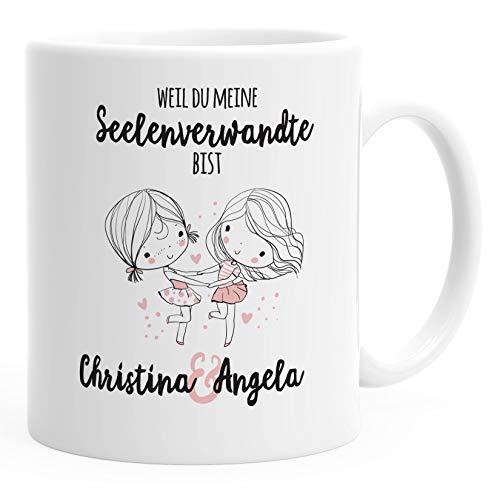 SpecialMe® Kaffeetasse Seelenverwandte beste Freunde Tasse Wunschnamen personalisierte Geschenke Freundschaftsgeschenk weiß Kaffeetasse