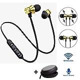 YiGaTech Auriculares Bluetooth in-Ear Sport V4.2, Resistentes al Sudor IPX5, estéreo, magnéticos Deportivos, con 10 Metros de Alcance, micrófono Integrado para iPhone, Huawei y Samsung, Dorado
