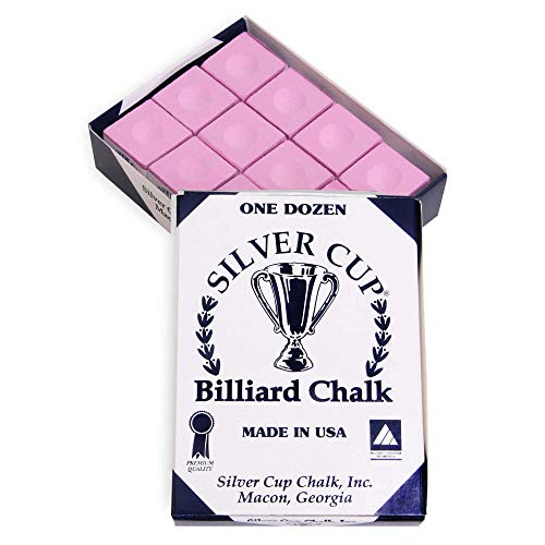 Sale!! SILVER CUP Billiard CHALK - ONE DOZEN (Pink)