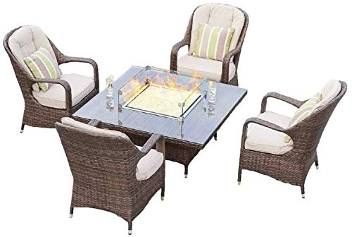 Envelor Eton 5-Piece Wicker Patio Furniture Dining Set with Square Gas Fire Pit Dining Table Outside Garden Rattan Wicker Conversation Sofa Set with Square Table Chairs and Luxury Cushions - Brown