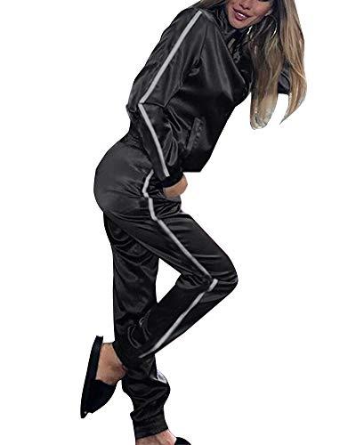 Minetom Damen Sportanzüge Jogginganzug Sexy Satin Reißverschluss Jacke Mantel Beiläufig Streifen Fitness Hose Freizeithose 2 Stück Schwarz DE 40