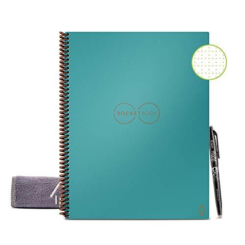 Rocketbook Core Quaderno Smart – Smart Notebook, Cancellabile, Riutilizzabile, Taccuino Digitale, Reusable Notebook per Appunti Digitali, Penna Pilot Frixion e Panno Inclusi (A4, Quadretti)