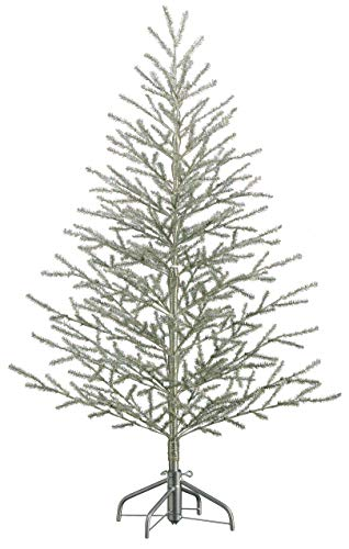 5'Hx40 D Tinsel Tree x368 on Metal Stand Antique Silver (5')