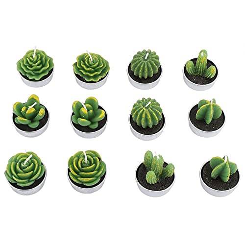 Gerioie Cactus Tealight Candles, Flameless Cactus Candles, Cute Party for Wedding Home Decoration Festival
